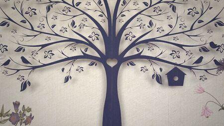 Closeup vintage flowers and tree, wedding background. Elegant and luxury pastel style 3D illustration