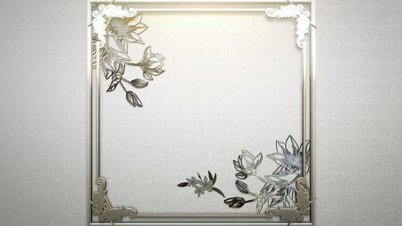 Closeup vintage frame with flowers, wedding background. Elegant and luxury pastel style 3D illustration Banco de Imagens - 129421407