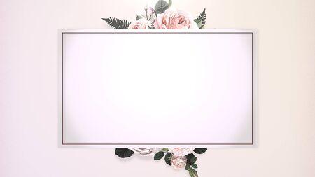 Closeup vintage frame with flowers, wedding background. Elegant and luxury pastel style 3D illustration