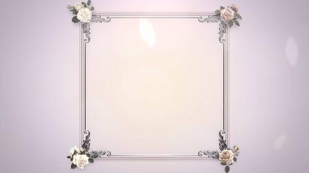 Closeup vintage frame with flowers, wedding background. Elegant and luxury pastel style 3D illustration Banco de Imagens - 129421411