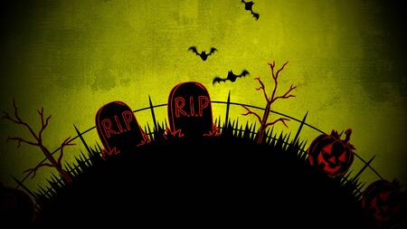 Halloween background with the coffins, pumpkins, trees, bats, skulls. Happy holiday abstract backdrop. Luxury and elegant style 3D illustration for holiday template