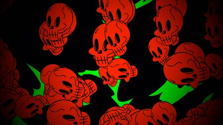 Halloween background with the skulls. Happy holiday abstract backdrop. Luxury and elegant style 3D illustration for holiday template Stockfoto - 129421444