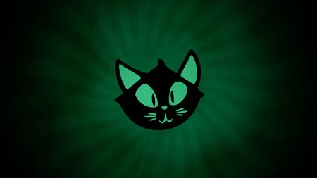 Halloween with the cat on green background. Happy holiday abstract backdrop. Luxury and elegant style 3D illustration for holiday template