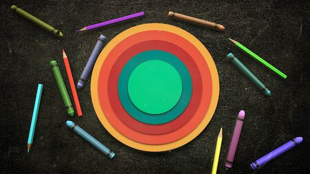 Closeup colorful pencil on table, school background. Elegant and luxury 3D illustration of education theme Foto de archivo - 129421512