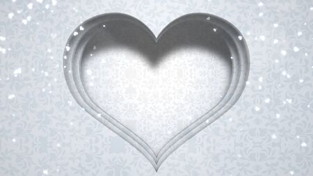 Closeup white hearts of love, wedding background. Elegant and luxury pastel style 3D illustration Banco de Imagens - 129421517