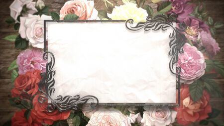 Closeup vintage frame with flowers, wedding background. Elegant and luxury pastel style 3D illustration Stock Illustration - 129421513