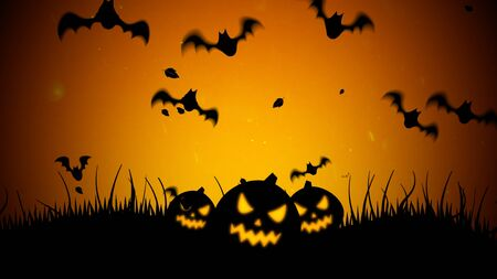 Halloween background with the bats and pumpkins. Happy holiday abstract backdrop. Luxury and elegant style 3D illustration for holiday template Stockfoto - 129421593