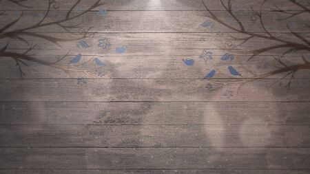 Closeup birds on trees on wood, wedding background. Elegant and luxury pastel style 3D illustration