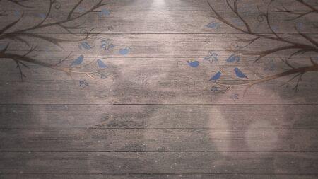 Closeup birds on trees on wood, wedding background. Elegant and luxury pastel style 3D illustration