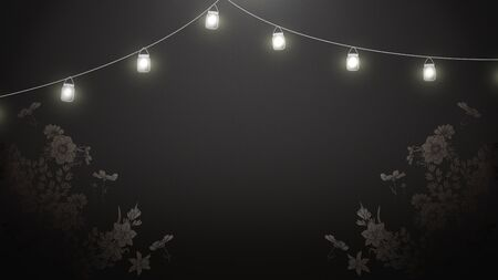 Closeup flowers on black wood, wedding background with lamps. Elegant and luxury pastel style 3D illustration