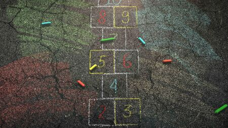 Closeup colorful chalk on asphalt, school background. Elegant and luxury 3D illustration of education theme