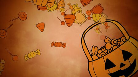 Halloween background with the candy basket. Happy holiday abstract backdrop. Luxury and elegant style 3D illustration for holiday template Stockfoto - 129421618