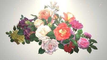 Closeup vintage flowers, wedding background. Elegant and luxury pastel style 3D illustration