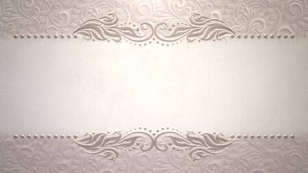 Closeup vintage frame with flowers, wedding background. Elegant and luxury pastel style 3D illustration