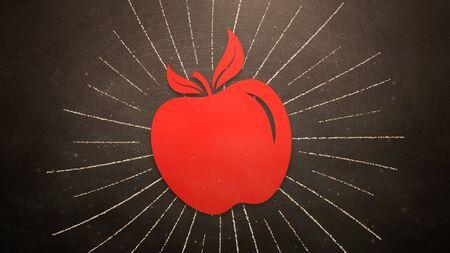 Closeup red apple on blackboard, school background. Elegant and luxury 3D illustration of education theme