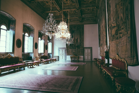 Florence, Italy - June 25, 2018: Panoramic view of interior of Palazzo Medici, also called Palazzo Medici Riccardi. It is Renaissance palace in Florence. It is seat of Metropolitan Florence and museum Editorial