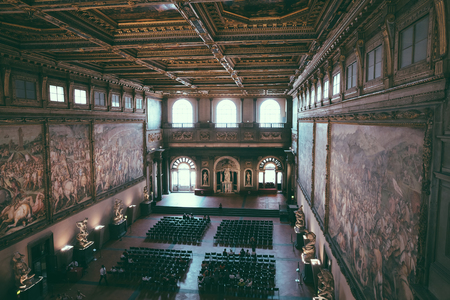 Florence, Italy - June 24, 2018: Panoramic view of interior and arts of Palazzo Vecchio (Old Palace) is the town hall of Florence