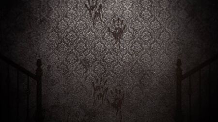 Mystical horror background with dark hall of room. Holiday halloween abstract backdrop. Luxury and elegant 3D illustration of halloween theme Stockfoto - 129421933