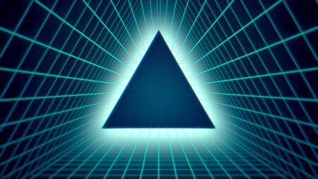 Retro triangle in space, abstract background. Elegant and luxury 80s, 90s style 3D illustration 写真素材 - 129421938