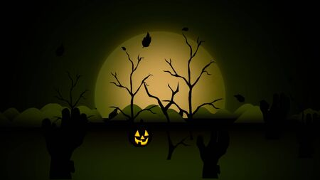 Halloween background with the coffins, pumpkins, trees, bats, skulls. Happy holiday abstract backdrop. Luxury and elegant style 3D illustration for holiday template Stockfoto - 129421946