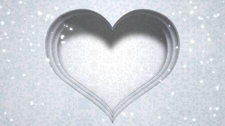 Closeup white hearts of love, wedding background. Elegant and luxury pastel style 3D illustration