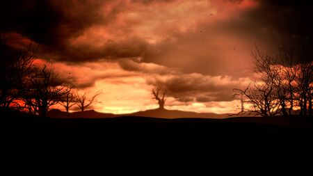 Mystical halloween background with dark clouds and mountains. Holiday abstract backdrop. Luxury and elegant 3D illustration of halloween theme Stockfoto - 129421954