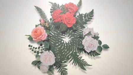 Closeup vintage flowers, wedding background. Elegant and luxury pastel style 3D illustration Banco de Imagens - 129421960