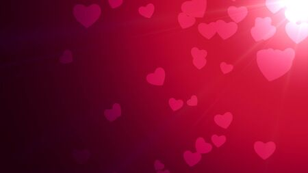 Romantic hearts on shiny background. Happy valentines day holidays greeting. Luxury and elegant style 3D illustration Stock Illustration - 129421970