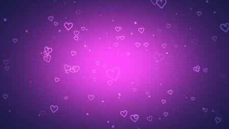 Romantic hearts on shiny background. Happy valentines day holidays greeting. Luxury and elegant style 3D illustration Stock Illustration - 129422012