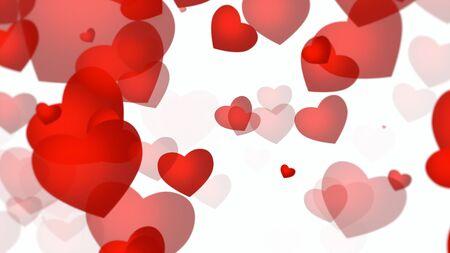 Romantic hearts on shiny background. Happy valentines day holidays greeting. Luxury and elegant style 3D illustration Banco de Imagens - 129422061