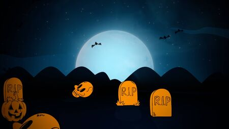 Halloween background with the coffins, pumpkins, bats, skulls and moon. Happy holiday abstract backdrop. Luxury and elegant style 3D illustration for holiday template