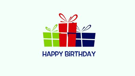 Closeup Happy Birthday text on white background. Luxury and elegant style 3D illustration for holiday Stok Fotoğraf