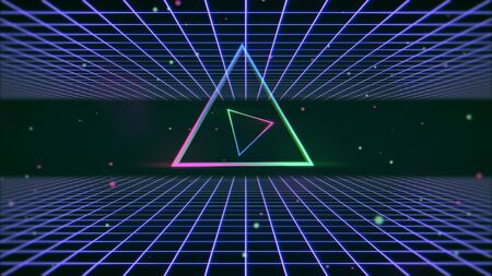 Retro colorful triangle and lines in space, abstract background. Elegant and luxury 80s, 90s style 3D illustration Imagens