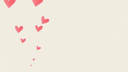 Romantic hearts on shiny background. Happy valentines day holidays greeting. Luxury and elegant style 3D illustration