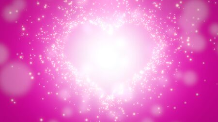Closeup pink hearts of love, wedding background. Elegant and luxury pastel style 3D illustration