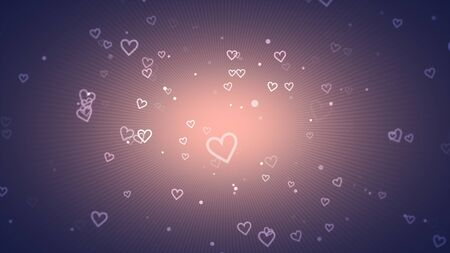 Romantic hearts on shiny background. Happy valentines day holidays greeting. Luxury and elegant style 3D illustration Stock Illustration - 129422237
