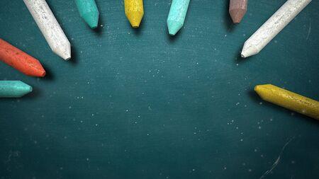 Closeup colorful chalk on blackboard, school background. Elegant and luxury 3D illustration of education theme