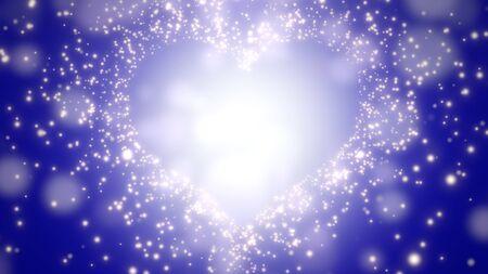Closeup blue hearts of love, wedding background. Elegant and luxury pastel style 3D illustration Stock Photo