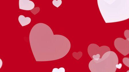 Romantic hearts on shiny background. Happy valentines day holidays greeting. Luxury and elegant style 3D illustration Banco de Imagens - 129421977