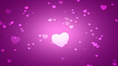 Romantic hearts on shiny background. Happy valentines day holidays greeting. Luxury and elegant style 3D illustration Banco de Imagens - 129421980