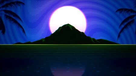 Retro abstract background, red grid and mountain. Elegant and luxury 80s, 90s style 3D illustration 写真素材 - 129421996