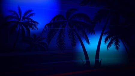 Retro summer abstract background, palm trees in night. Elegant and luxury 80s, 90s style 3D illustration Imagens