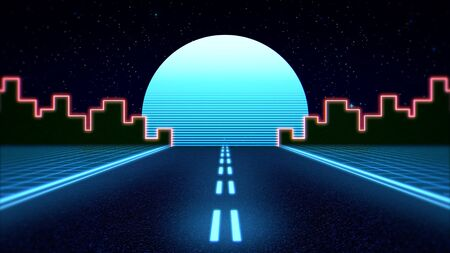 Retro abstract background, red road and city. Elegant and luxury 80s, 90s style 3D illustration 写真素材