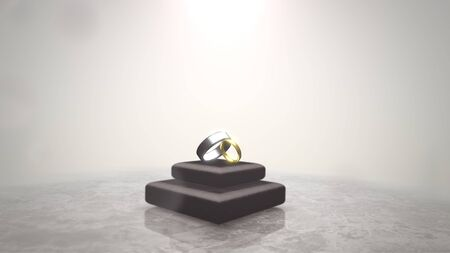 Closeup rings of love on wedding date, motion background. Elegant and luxury pastel style 3D illustration