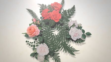 Closeup vintage flowers, wedding background. Elegant and luxury pastel style 3D illustration Banco de Imagens - 129421865