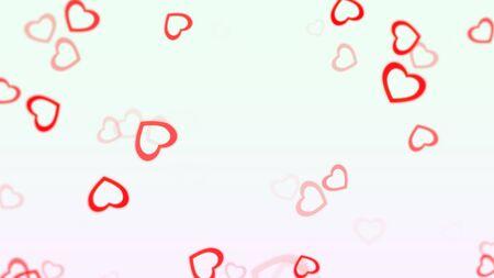 Romantic hearts on shiny background. Happy valentines day holidays greeting. Luxury and elegant style 3D illustration Stock Illustration - 129421877