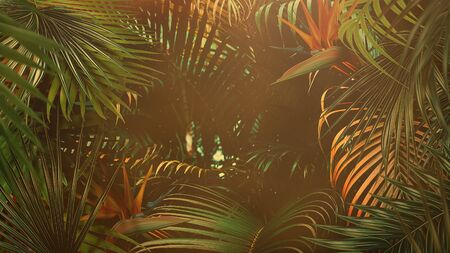 Closeup tropical leaf of trees, summer background. Elegant and luxury 80s, 90s retro style 3D illustration