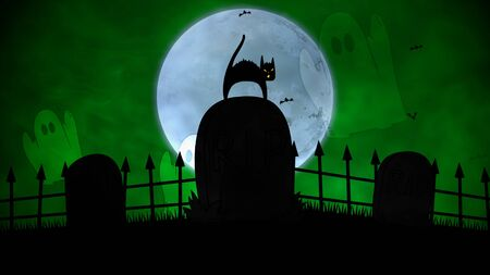 Halloween background with the cat on grave. Happy holiday abstract backdrop. Luxury and elegant style 3D illustration for holiday template Stok Fotoğraf