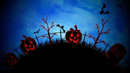 Halloween background with the coffins, pumpkins, trees, bats, skulls. Happy holiday abstract backdrop. Luxury and elegant style 3D illustration for holiday template Stockfoto - 129421897