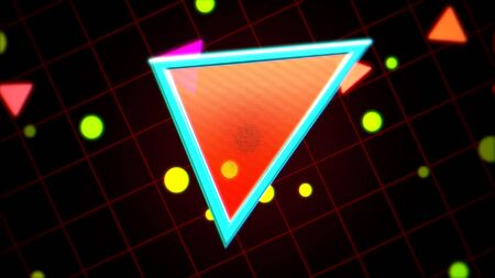 Retro triangle abstract background with noise and distortion. Elegant and luxury 80s, 90s style 3D illustration 写真素材